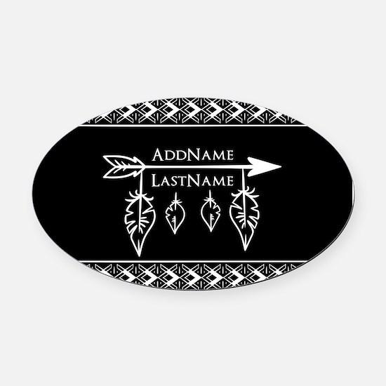 White on Black Bohemian Arrow Feat Oval Car Magnet