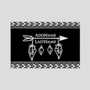 White on Black Bohemian Arrow Fea Rectangle Magnet