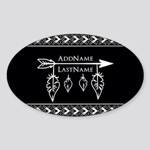 White on Black Bohemian Arrow Feath Sticker (Oval)