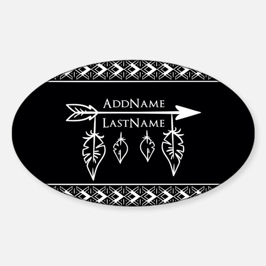 White on Black Bohemian Arrow Feath Sticker (Oval)