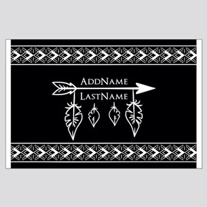 White on Black Bohemian Arrow Feather Large Poster
