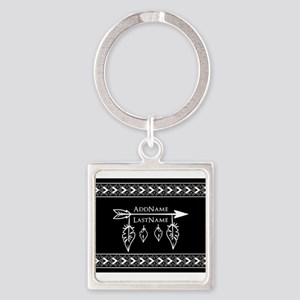 White on Black Bohemian Arrow Feat Square Keychain