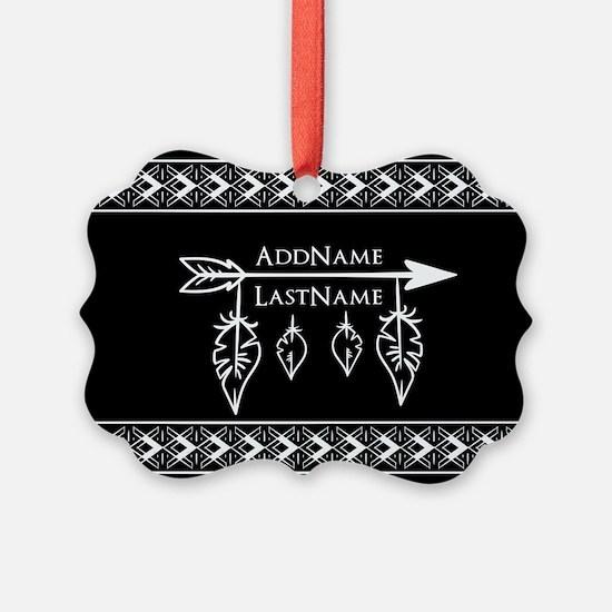 White on Black Bohemian Arrow Fea Ornament