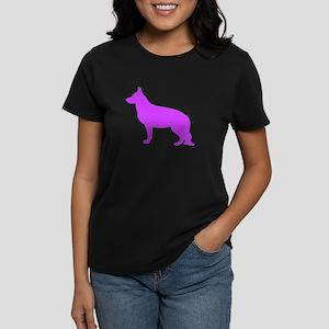 German Shepherd Two Purple 1 Dark T-Shirt