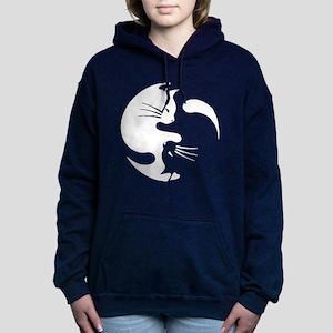 Cat yin yang T-shirt Women's Hooded Sweatshirt