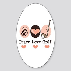 Peace Love Golf Golfing Oval Sticker