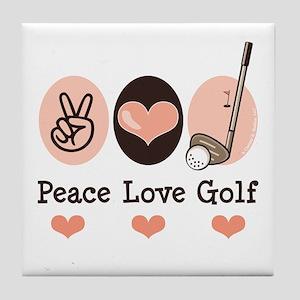 Peace Love Golf Golfing Tile Coaster