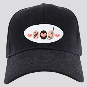 Peace Love Golf Golfing Black Cap