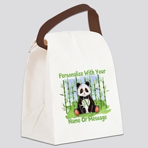 PERSONALIZED Panda With Bamboo Canvas Lunch Bag