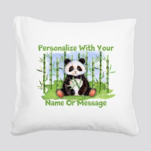 PERSONALIZED Panda With Bamboo Square Canvas Pillo