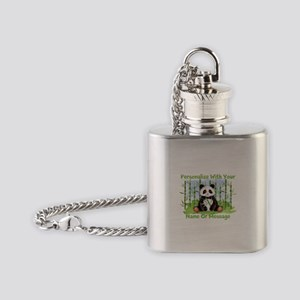 PERSONALIZED Panda With Bamboo Flask Necklace