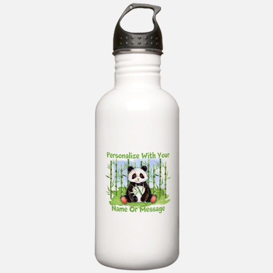 PERSONALIZED Panda With Bamboo Water Bottle