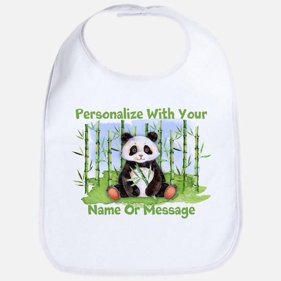 PERSONALIZED Panda With Bamboo Bib