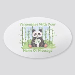 Personalized Panda Bamboo Sticker (Oval)