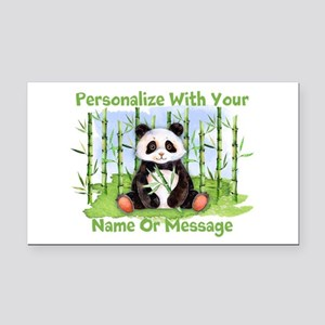 Personalized Panda Bamboo Rectangle Car Magnet