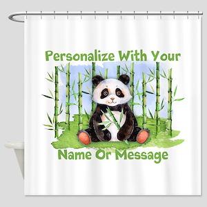 Personalized Panda Bamboo Shower Curtain