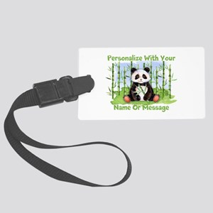 Personalized Panda Bamboo Large Luggage Tag