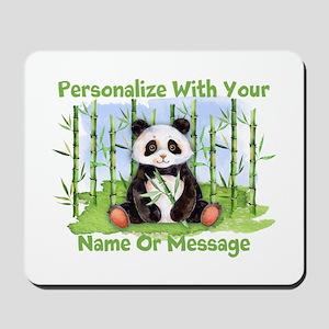 Personalized Panda Bamboo Mousepad
