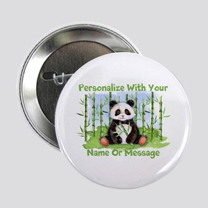 "Personalized Panda Bamboo 2.25"" Button"