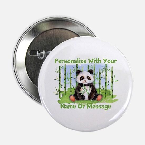 """Personalized Panda Bamboo 2.25"""" Button"""