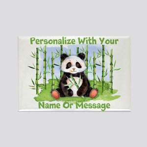 Personalized Panda Bamboo Rectangle Magnet