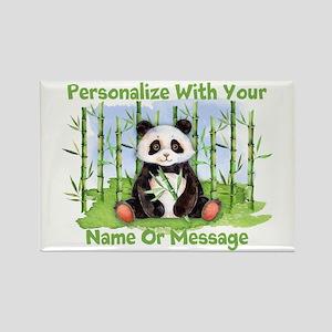 Personalized Panda Bamboo Rectangle Magnet
