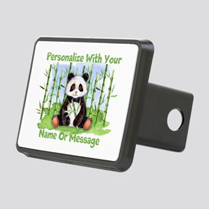 Personalized Panda Bamboo Rectangular Hitch Cover