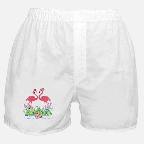 PERSONALIZED Flamingo Couple Boxer Shorts