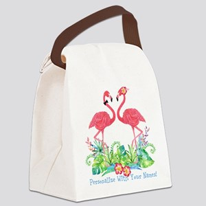 PERSONALIZED Flamingo Couple Canvas Lunch Bag