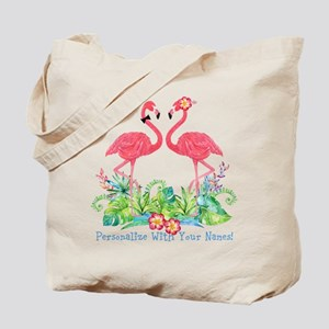 PERSONALIZED Flamingo Couple Tote Bag