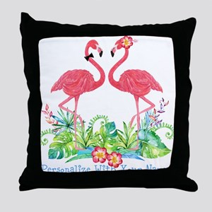 PERSONALIZED Flamingo Couple Throw Pillow