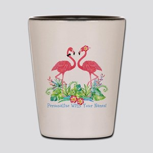 PERSONALIZED Flamingo Couple Shot Glass