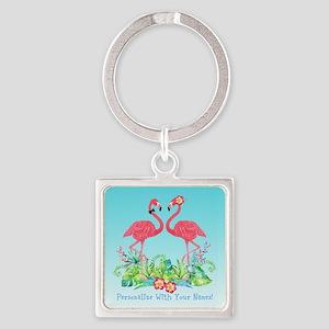 PERSONALIZED Flamingo Couple Keychains