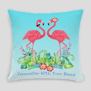 PERSONALIZED Flamingo Couple Everyday Pillow