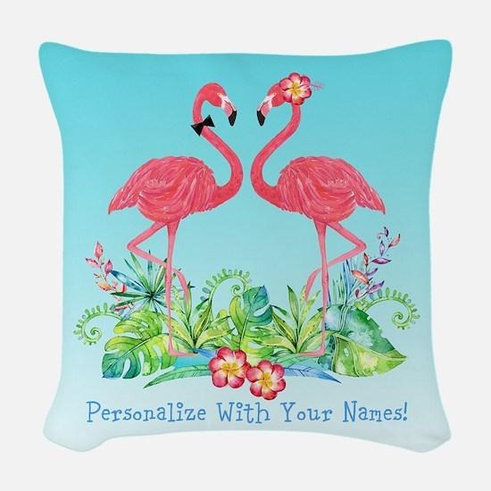 PERSONALIZED Flamingo Couple Woven Throw Pillow