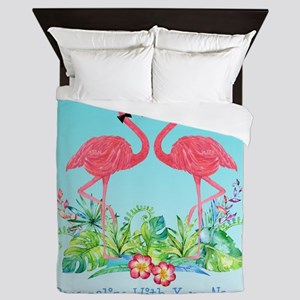 PERSONALIZED Flamingo Couple Queen Duvet