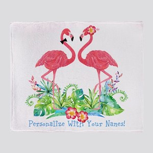 Personalized Flamingo Couple Throw Blanket
