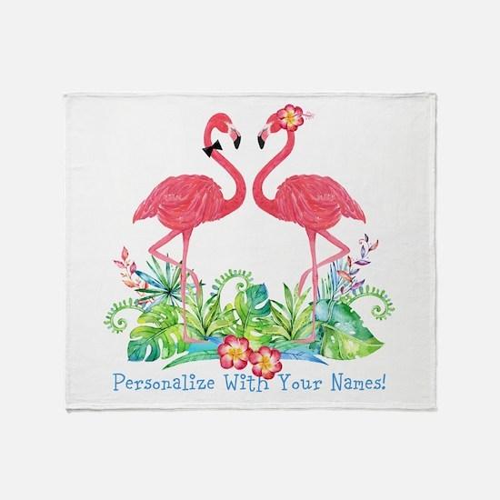 Personalized Flamingo Couple Throw Blanket