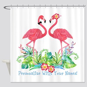 Personalized Flamingo Couple Shower Curtain