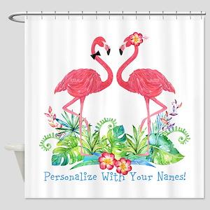 Personalized Flamingo Couple Shower Curtain