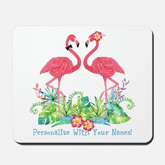 Personalized Flamingo Couple Mousepad