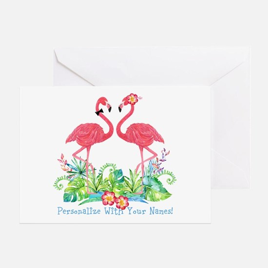 Personalized Flamingo Couple Greeting Card