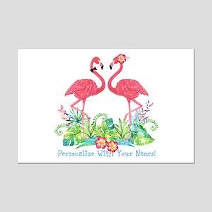 Personalized Flamingo Couple Mini Poster Print
