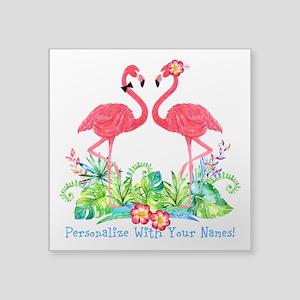 """Personalized Flamingo Coupl Square Sticker 3"""" x 3"""""""