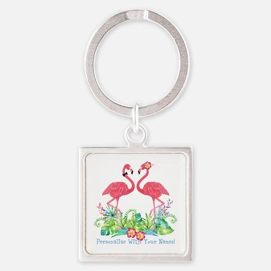 Personalized Flamingo Couple Square Keychain