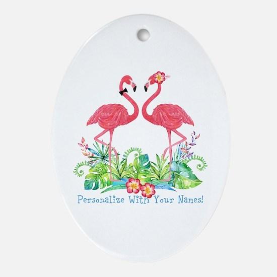 Personalized Flamingo Couple Oval Ornament