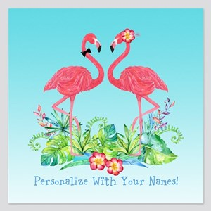 PERSONALIZED Flamingo Couple Invitations