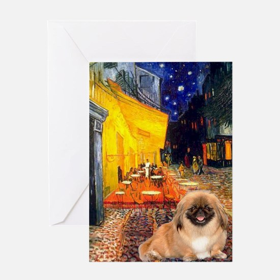 Cafe /Pekingese (r) Greeting Card