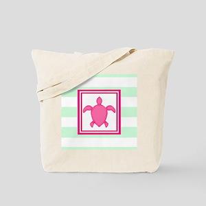 Pink Green Beach Turtle Tote Bag