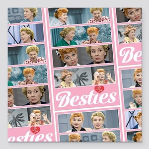 "I Love Lucy: Besties Pat Square Car Magnet 3"" x 3"""